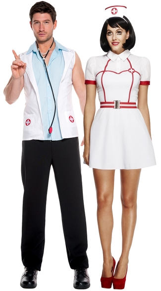 Sexy Bedside Assistance Couples Costume, Sexy Bedside Nurse Costume, Sexy Nurse Costume, Sexy Doctor Costume, Men\'s E.R. Doctor Costume, Medical Costumes, Men\'s Doctor Costume