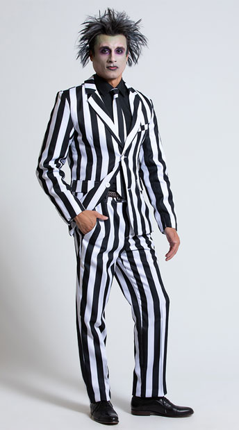 Men's White and Black Striped Suit Costume - As Shown
