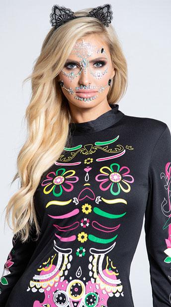 Sugar Skull Cat Costume - As Shown