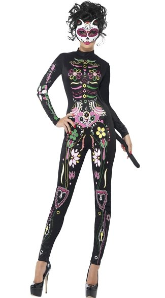 Sugar Skull Cat Costume, Dia De Los Muertos Costume, Day of the Dead Costume
