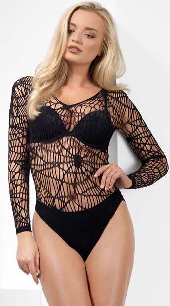 Crochet Spider Web Bodysuit - Black