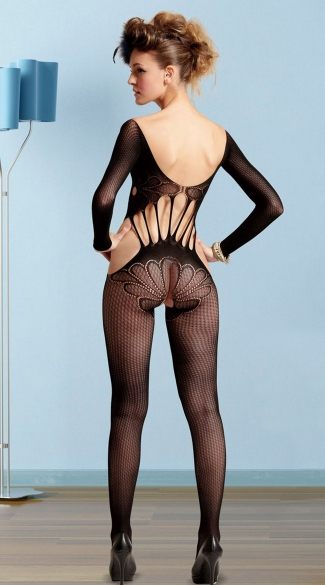 Open Crotch Long Sleeve Floral Bodystocking - Black