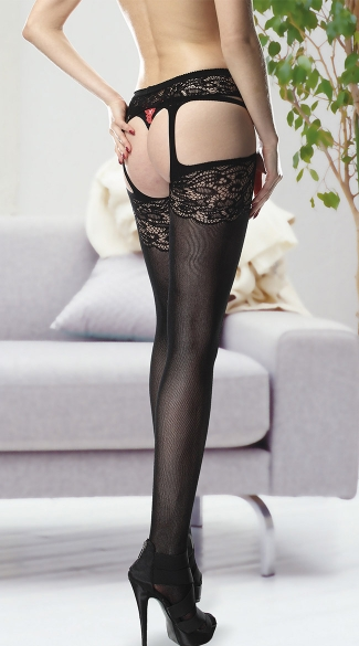 Floral Lace Garter Belt and Attached Stockings - Black
