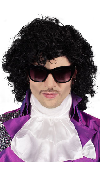 Purple Pop Star Wig, Men\'s Black Wig, Curly Black Wig