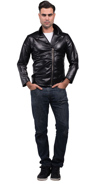 men s faux leather greaser jacket black leather jacket greaser jacket