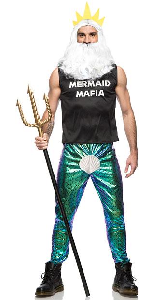 Men's Mermaid Mafia Costume - As Shown