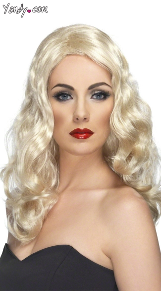 Glamour Blonde Wig, Hollywood Wig, Blonde Costume Wig