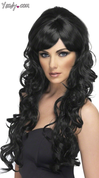Pop Starlet Black Wig, Black Long Wig, Long Black Curly Wig