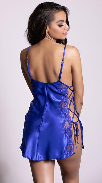 Charmeuse Lace Chemise - Blue