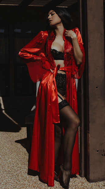 Long Satin and Chiffon Robe - Red