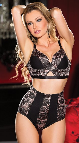 Rose and Lace Print Bra Set - as shown