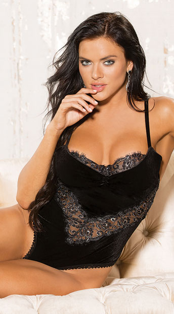 Velvet and Lace Teddy, Lace and Velvet Teddy - Yandy.com