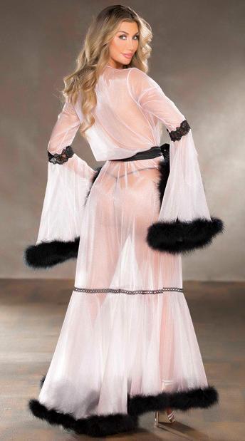 Sheer Stimulation Long Robe - Pink/Black