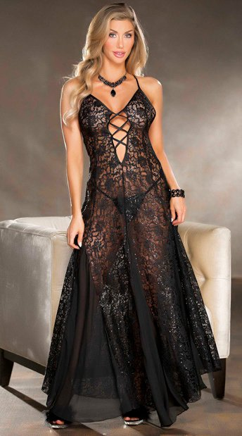 Lucious Lace Gown - Black