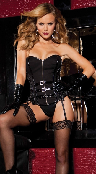 Twill and Vinyl Strapless Corset, Sexy Patent Leather Corset, Faux Leather Corset