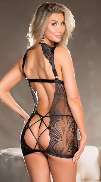 Naughty Net Chemise Set - Black