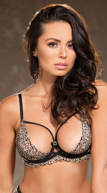 Pretty Kitty Strappy Bra - Leopard