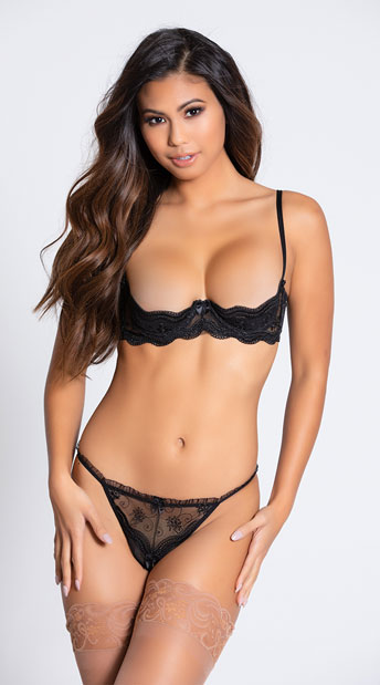 Embroidered Shelf Bra - Black