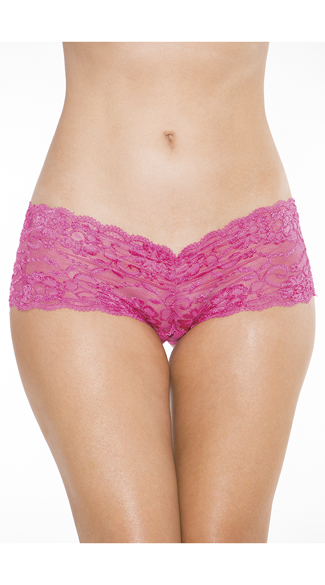 Crotchless Low Rise Lace Boyshort, Lace Boyshort Panty, Lace Panty