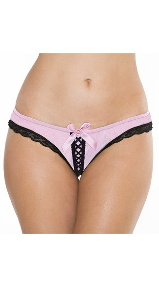 Open Back Lace-Up Panty, Lace Panty, Open Back Panty