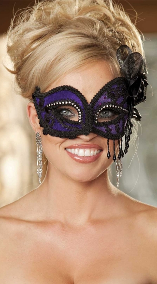 Purple Satin and Lace Eye Mask with Rhinestones, Fancy Satin Eye Mask with Beads, Beaded Masquerade Eye Mask in Purple Satin