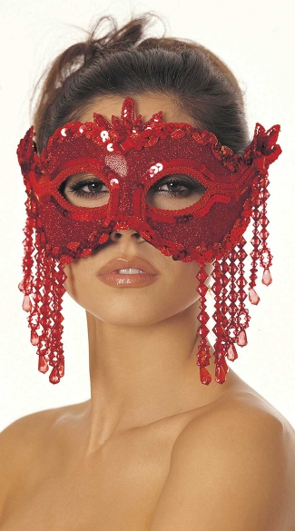 Dazzling Sequin Eye Mask with Beaded Fringe - Red
