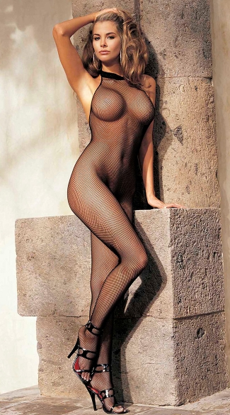 High Neck Fishnet Bodystocking, Full Body Stocking, Fishnet Body Stocking