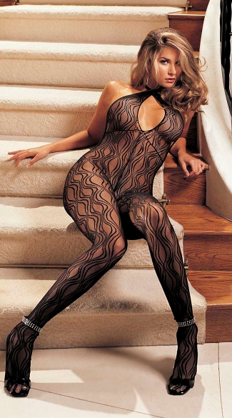 Keyhole Lace Bodystocking, Black Body Stocking, Full Body Stocking