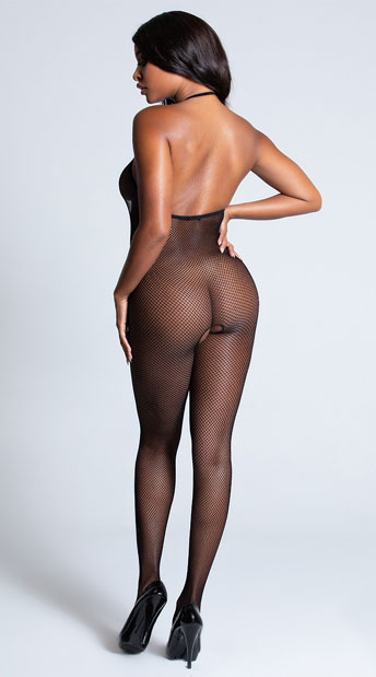 Backless Fishnet Bodystocking - Black