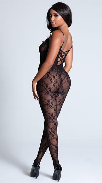 Cross Back Lace Bodystocking - Black