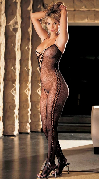 Crossed Fishnet Bodystocking - Black