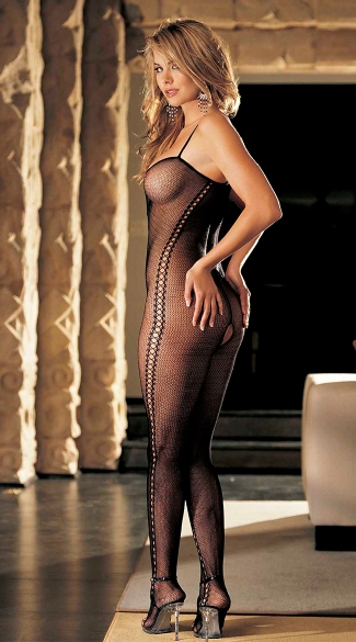 Cross Front Crotchless Fishnet Bodystocking, Crotchless Bodystocking