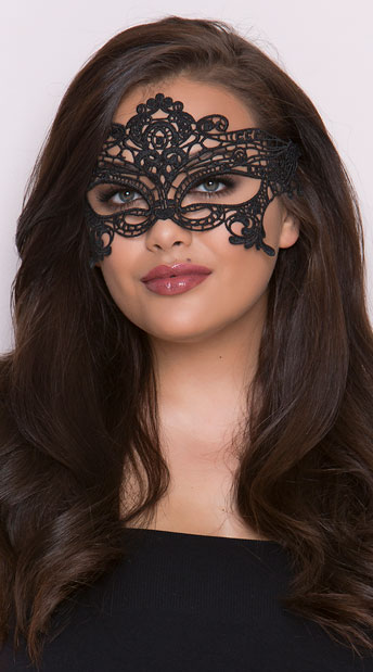 Embroidered Venice Eye Mask - Black