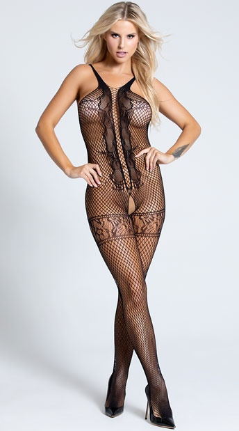 Open Front Fishnet and Lace Bodystocking - Black