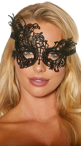 Mysterious Black Eye Mask - Black