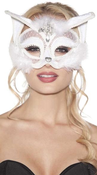 Furry White Velvet Cat Mask Sexy White Velvet Cat Mask