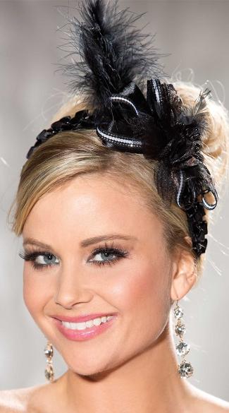 Black Ribbon Headband with Feathers - Black