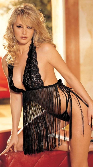 Two Piece Stretch Lace Babydoll Set - Black