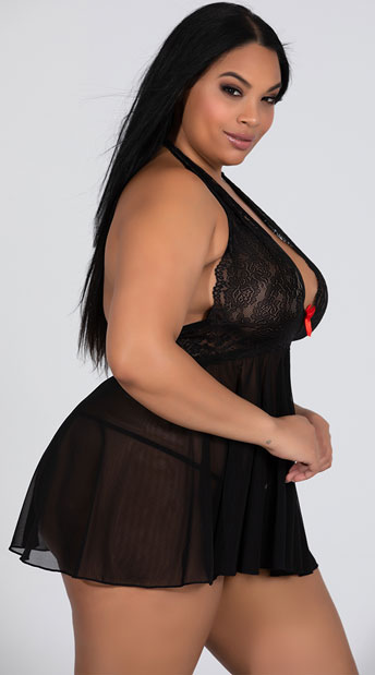 Plus Size Stretch Mesh and Lace Babydoll Set - Black/Red