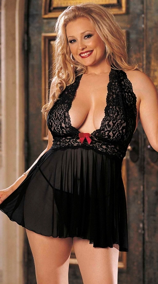 Plus Size Stretch Mesh and Lace Babydoll with Bow, Stretch Mesh Baby Doll Set