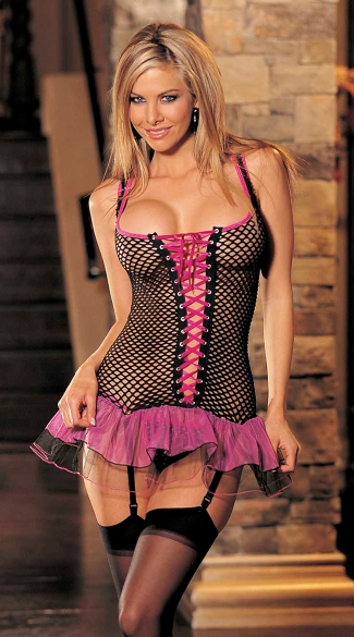 Three Piece Big Hole Fishnet and Tulle Bustier Set, Fishnet Bustier Set
