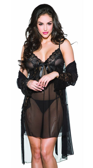 Sheer Mesh and Lace Robe Set, Mesh and Lace Chemise Set, Sheer Robe Set