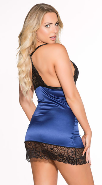 Plus Size Make An Impression Chemise Set - Royal/Black