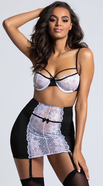 4c30c30028 Luxurious Black and White Bra Set - Black White ...