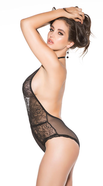 Evocative Lace Teddy - Black