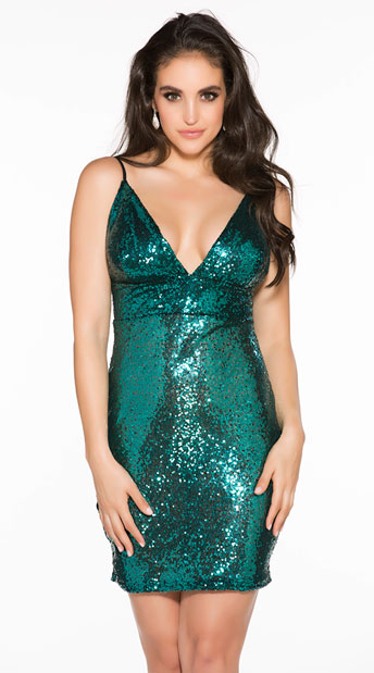 Sexy Sequin Dress - Peacock