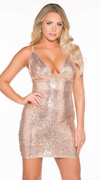Sexy Sequin Dress - Rose Gold
