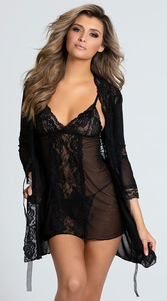 Promiscuous Pegnoir Robe Set - Black