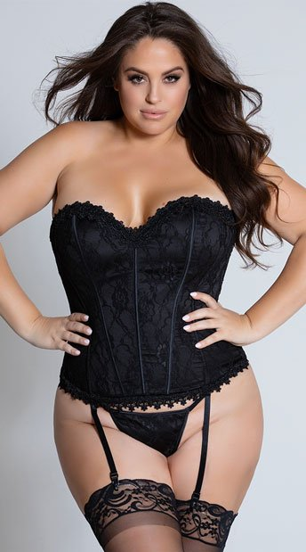 Plus Size Satin and Lace Corset Set - Black