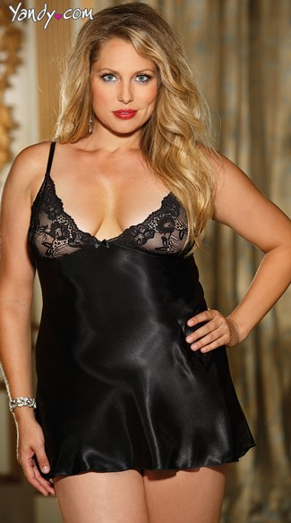 3c11b998a Plus Size Silk Chemise with Lace Cups - Black